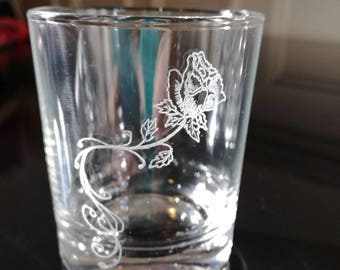 Glass cups 7 cm - pink engraving + personalization