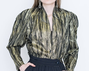 VINTAGE Gold Striped Shell Retro Top