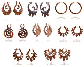 WHOLESALE LOT of Wooden Stick Handmade Tribal Wood Earrings WHOL18