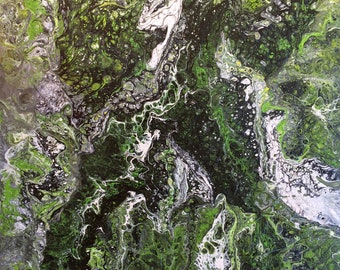 White, Green, Black,Absact painting, Art Deco, Contemporary art, Original acrylic pour painting by Jordanka