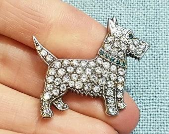Scottie Dog Brooch Paste Silver Pin