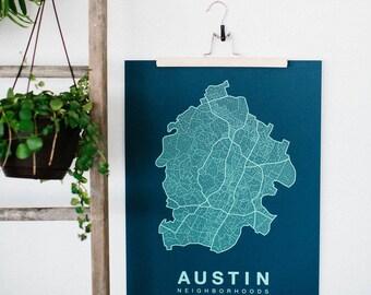 AUSTIN Map. Screen Print Poster. Neighborhood Map. Modern Home Decor Print. Austin Texas Art Poster. Multiple Colors.
