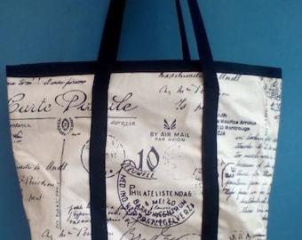 Beautiful oilskin tote bag.