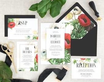 Botanical Wedding Invitation Suite - Floral Wedding Invitations Printed - Flower Wedding Invitation Set - Pink Wedding Invites - Set of 10