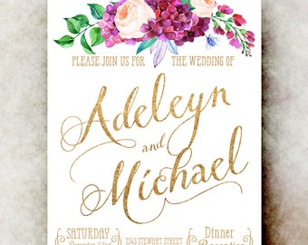 Printable Wedding Invitation - Floral wedding invitation, watercolor invitation, golden wedding invitation