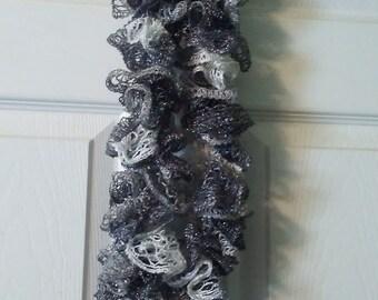 Glittery Silver Ruffled Scarf