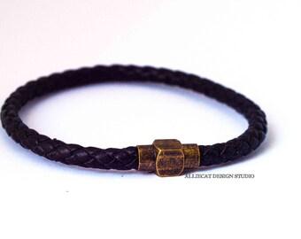 Bohemian Bracelet, Boho Bracelet, 1x Black Brass Plate Wrap Bracelet (7.5 inches)
