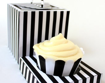 Posh Black and White Stripe Printable Cupcake Holder Box