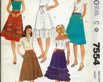 McCall's 7554 Misses Skirt Pattern, Flared, BOHO, Ruffled Skirts, Sizes 6, 10 & 12 UNCUT
