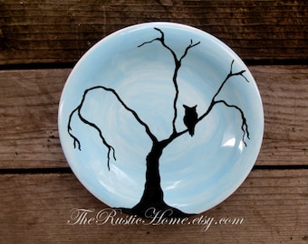 Midnight owl pottery dinner plates choose your colors owl in tree full moon custom pottery plate & Design your own dinner plates choose colors and design
