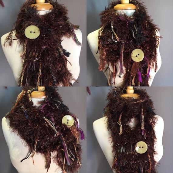 Hand Knit brown fur scarf with glazed button, Spring Fields, Art Scarf, Scarf with button, scarf, bohemian, lightweight, brown orange green