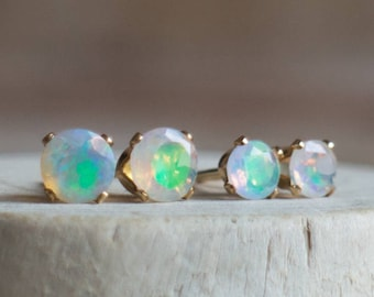 Ethiopian Welo Opal Stud Earrings - October Birthstone