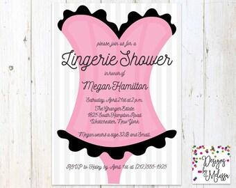 Lingerie Shower Invitation - Corset Invitation - Bachelorette Party - Hen Party Invite - Bachelorette - Pink and Black Invite - DIGITAL FILE
