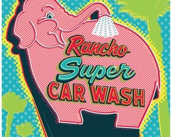 Elephant Car Wash, Rancho Mirage, Palm Springs Print, Palm Springs Poster, Palm Springs Wall Art, Wall decor, Gift, Home decor
