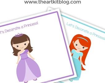 Let's Decorate a Princess - Activity Sheets | Playdough Mats Using Gems, Sequins, Buttons, or Playdough