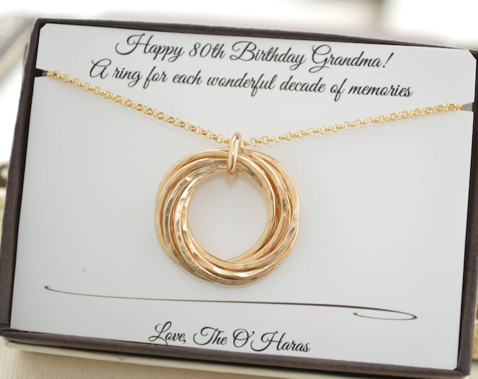 80th Birthday gift for grandma, 8 gold filled rings necklace, 8 Anniversary gift for her, Golf filled necklace, 80th Birthday gift for mom