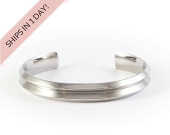 GROOVED Bracelet Cuff in SILVER, stainless steel or brass, wedding bridesmaid gift