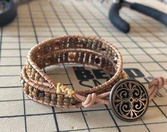 Leather Wrap Boho Seed Bead Bracelet