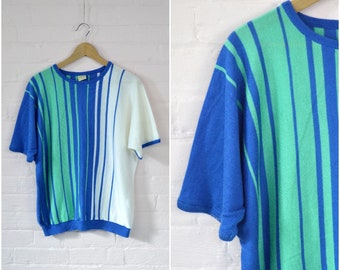 80s baggy striped pullover · retro knit cozy short sleeve sweater · vintage crew neck oversized top · blue green white striped top · xxlarge