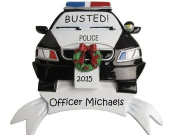 Custom Police Cruiser Ornament, Cute Police Ornament, Custom Police Gift