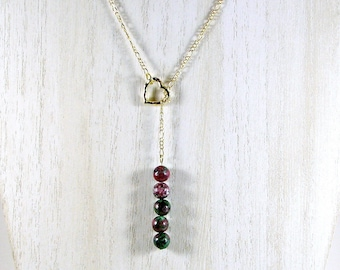 Jasper lariat necklace; stacked bead lariat necklace; lariat necklace