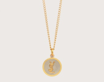Re-worked Gold & Silver YSL Necklace Vintage Button Pendant Unisex Chain Yves Saint Laurent Engraved