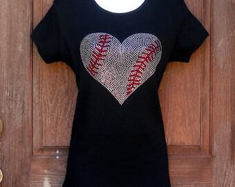 Women's rhinestone Baseball heart shirt