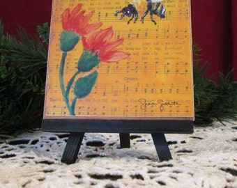 Honeybee, Art Print on Easel, Wood Mounted Print, Print of Mixed Media Painting on Vintage Hymnal Page, Christian Art, 4x4
