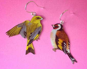 Goldfinch and greenfinch bird vintage tin earrings