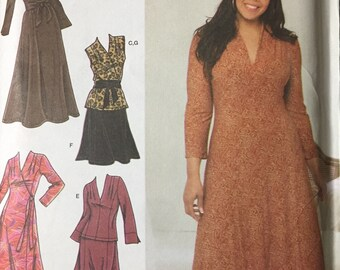 Khaliah Ali Full Figure Dress Sewing Pattern Simplicity 3804 Size 18-24W Bust 40 -46 inches   Uncut Complete