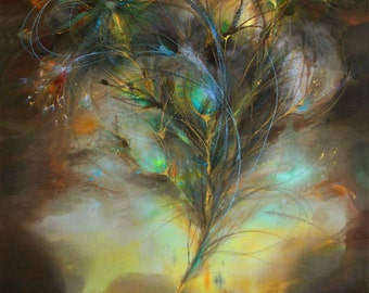 Gift for Home, Fire Feather, print on paper by original painting, legend of phoenix, library decor, fantasy art, teens' room decor, brown