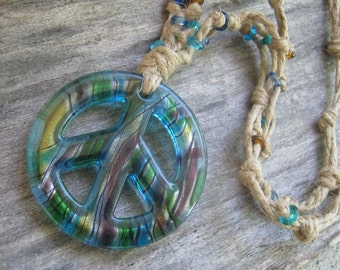 Giant Blue Peace Sign Necklace, Tie Dye Peace Sign Necklace, Boho, Hippie, Hipster, Hemp and Double Sided, READY To SHIP