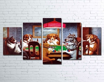Poker Dogs 5pc Canvas Set