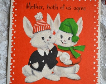 Vintage Christmas Card - Flocked Bunny Brother and Sister to Mother - Unused