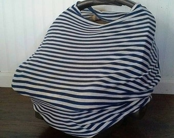 Navy and White Striped Car Seat Cover, Nursing Cover