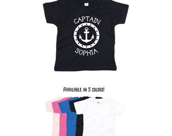 Captain shirt, personalized shirt, custom name shirt, captain name shirt, baby shirt, boating shirt, sailor shirt, anchor shirt, toddler tee