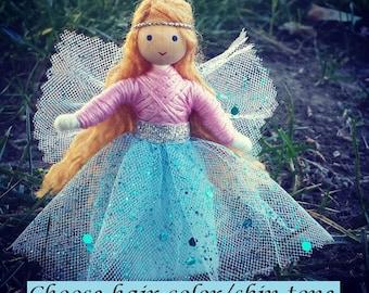 Fairy Doll - Blue - Light Pink - Waldorf Fairy - Bendy Doll - Flower Fairy - Blonde Hair - Fairie Doll