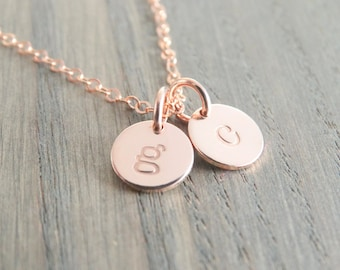 Rose Gold Necklace Dainty rose gold initial necklace Personalized necklace Rose Gold Letter Necklace Rose Gold Initial Necklace