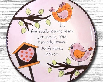 Personalized Birth Plates - Personalized Ceramic Baby Plate - Personalized Baby Plates - Baby Shower Plates - Little Birdie Design -New Baby  sc 1 st  Etsy & Birth plates | Etsy