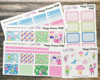 Happy Gnome Weekly Kit for Plum ME layout, plum planner stickers