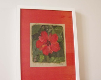 Red hibiscus painting, vintage, red hibiscus oil painting, red hibiscus orignal painting, oil on paper mounted on red paper, late eighties