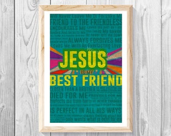 "Jesus Is My Best Friend - 11""x 17"" Print, Christian Wall Art, Toddler Bedroom, Toddler Crib Art, Comic Print, Boy and Girls Art."