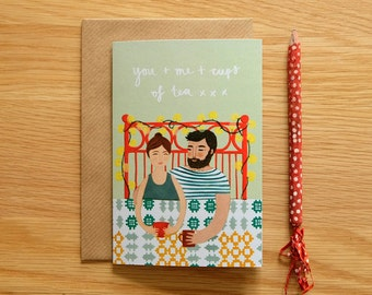 Illustrated You and Me Card