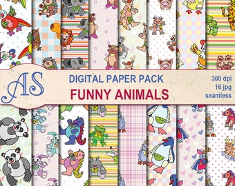 Digital Funny Animals Seamless Paper Pack, 16 kids printable Digital Scrapbooking papers, baby toys Collage, Instant Download, set 338