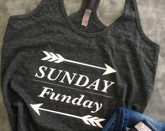 Womens Funny Shirt/Womens Wine Shirt/Sunday Funday Shirt/Womens Funny Saying/Womens Wine Shirt/Funny Wine Saying/T~Back Racer Tank Top
