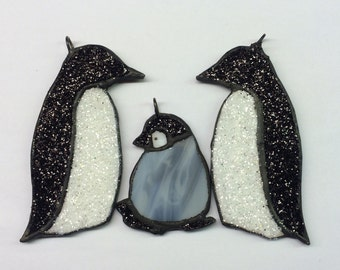 Handmade Sparkle Stained Glass Penguin Family