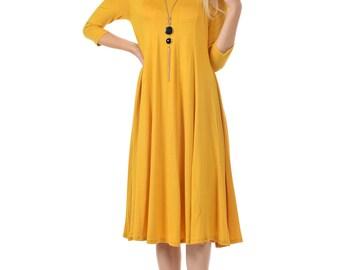A-Line Trapeze Midi Dress Mustard