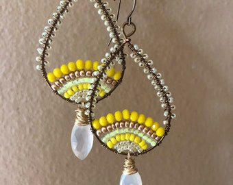Yellow and white chalcedony hoops
