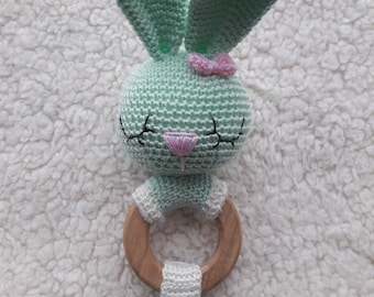 Bunny, bunny rattle, sleeping bunny,Crochet rattle with wooden ring, teething ring