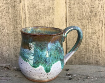 Handmade Speckled White and Green Mug